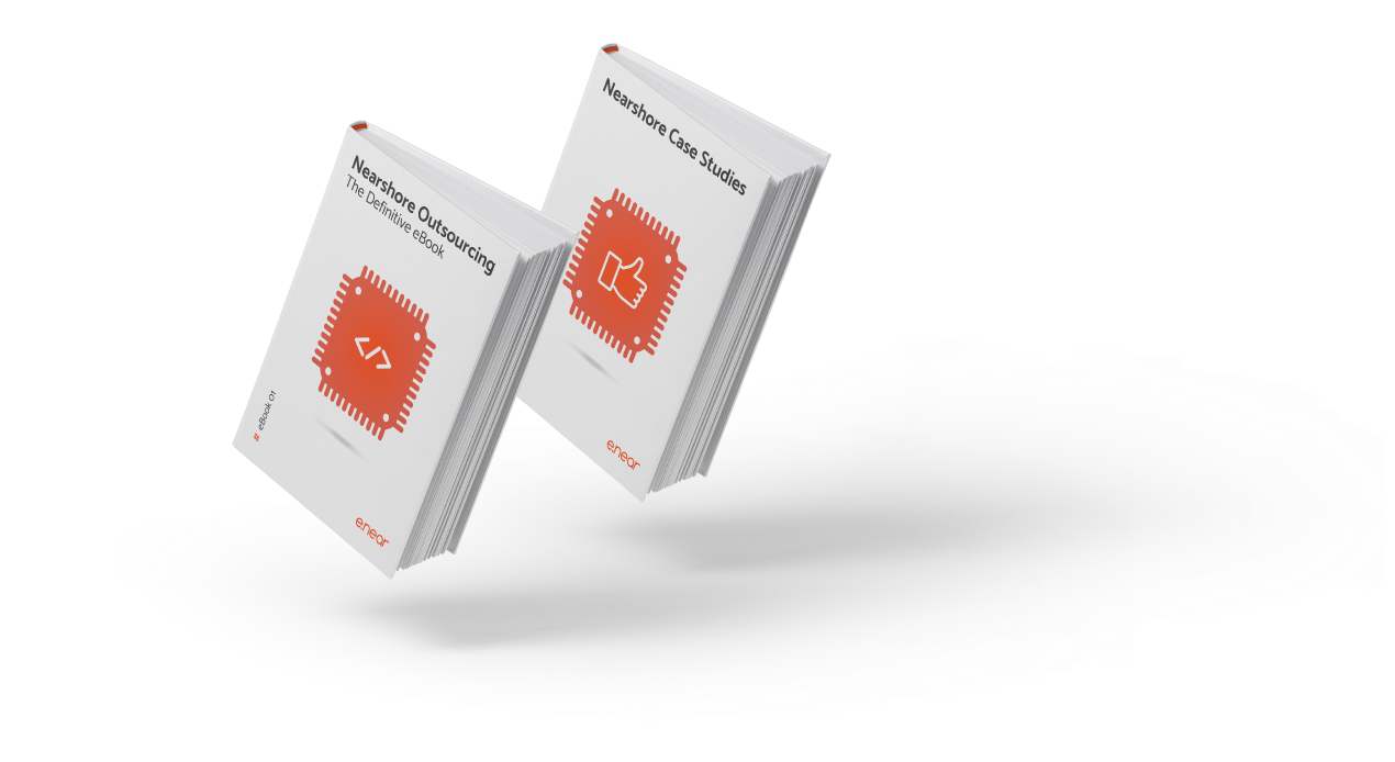 Two white books floating. They both have an orange image in the center and e.near's logo.