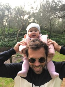 Alexander Neves, International Business Manager at e.near with his daughter. Alexander became a father during the covid-19 pandemic.