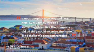 """""""e.near peopple are always willing to help. Every time I needed something I felt like the company did all they could to sove the issue or to make me feel comfortable."""" Federico Rossi, software developer - e.near"""